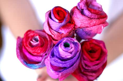 A bouquet of paper towel roses